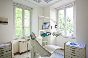 Clean, safe dentist examination chair in COVID-19